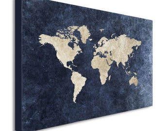 World Map Abstract Modern Blue Canvas Wall Art Print - Various Sizes