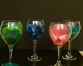Hand Painted Floral Wine Glasses