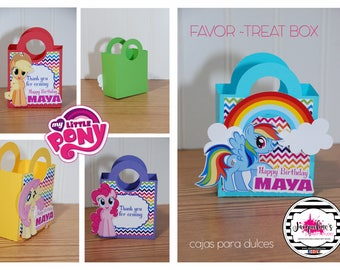 My Little Pony favor-treat box, my little pony party, my little pony box SET OF 6
