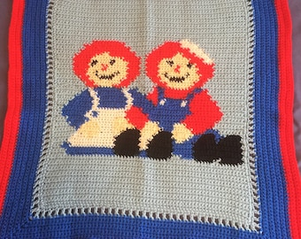 Crochet Baby Blanket with Raggedy Ann and Andy