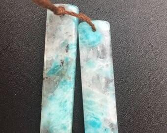 Brazilian Amazonite Slice Earring Pendants Matched pairs, gemstone slices, gemstone slabs, gemstone tablets