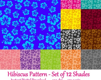 Hibiscus Pattern - Set of 12 Shades (Instant Digital Download - 300 dpi, 12 in x 12 in)