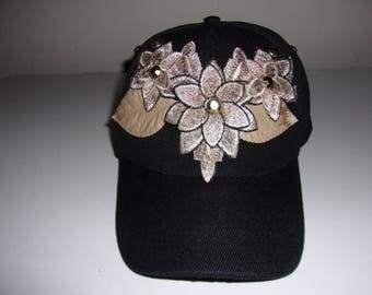 Decorated black baseball cap