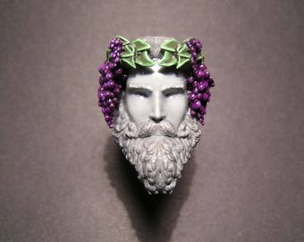 Ring Ring Bacchus (Bacchus, Dionysus), printed in 3D, 3D printed, hand painted, hand painted