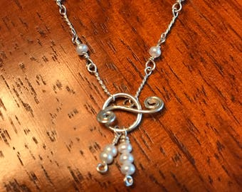 Seed Pearl Sterling Silver Necklace with Toggle clasp