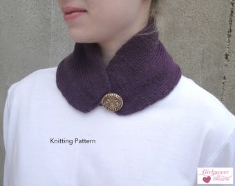 Neck Warmer Scarf, Knitting Pattern, Easy Knit, Scarflette, Classic Elite Fresco Sport Weight Yarn, One Button Neck Scarf