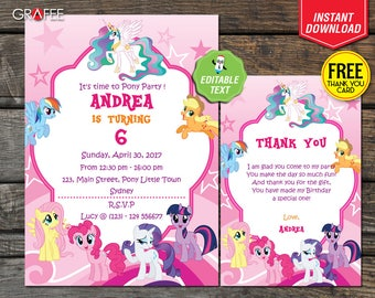 My Little Pony Invitation - EDITABLE Text - DIY Customize Personalise Little Pony Birthday Card 5x7 - FREE Thank You Card - Instant Download