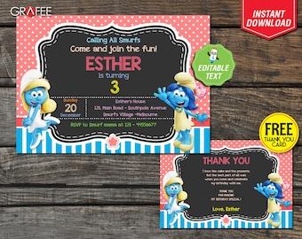 Smurfs Invitation 5x7 - EDITABLE Text - Smurfs Birthday Invite - Smurfs Village Movie Theme Smurfette Lily Smurfs Party Instant Download