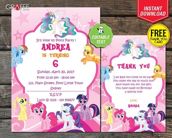 My Little Pony Invitation Editable Text Diy Customize