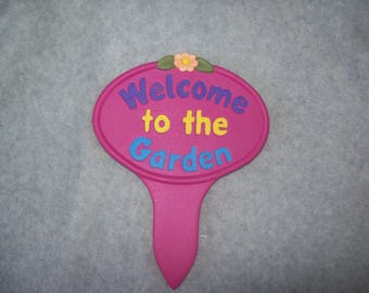 Garden Decor Yard Art Garden Stake Welcome Stake Flower Stake