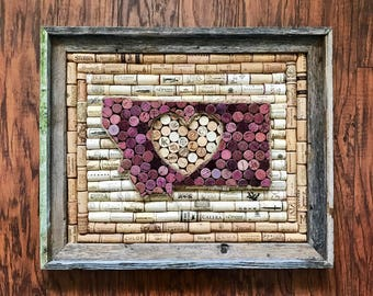 Montana or Any State heart wine cork art in Barnwood frame, rustic home decor, wine lover gift