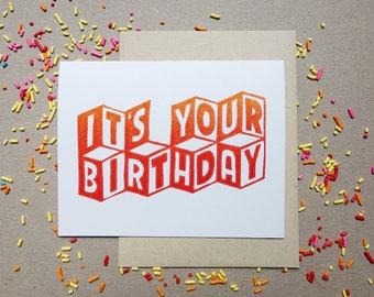 Linocut Greeting Card // Happy Birthday // 3D // Typographic // Ombre
