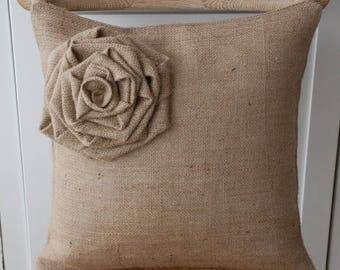 Big Burlap Flower Pillow Cover