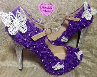 Roses and butterflies high heels shoes, heels, wedding, funky shoes, alternative shoes, women's heels, pearls