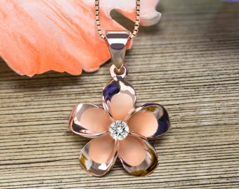 Plumeria Rose Gold Plated CZ Necklace Pendant