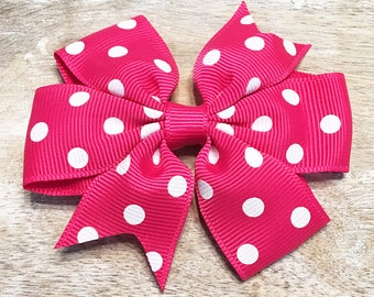 Shocking Pink and White Polka Dot Grosgrain Ribbon Bow, Alligator Clip, Barrette, 3 inches wide, Hair bow, Girls