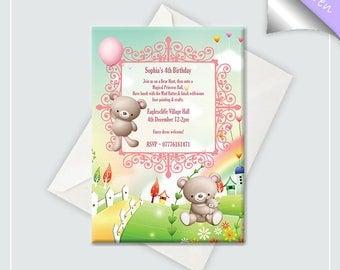 Teddy Bear Birthday Invitation x10