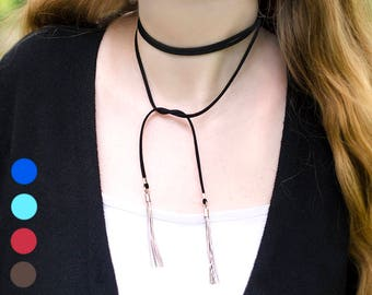 Christmas Gift|for|Her Tassel Necklace Choker Necklace Boho Necklace Wrap Necklace Leather Choker Necklaces Layered Necklace Leather Lariat