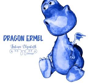 Dragon Ermel 5, blue, Watercolor Clipart, Baby, Child, Fun, Craft