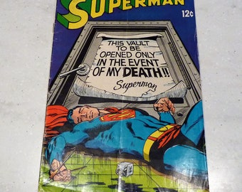 "Superman DC Comic Book  # 213, January 1968 ""This Vault to be Opened in the Event of Death"" , Vintage Super Hero Comic"