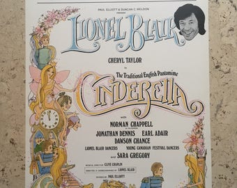 Free shipping. 1970s Cinderella theatre poster. Printed in England. Lionel Blair.