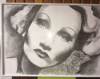 Marlene Dietrich pencil drawing woman face black and white 50x70 cm 19,69x23,62 inch