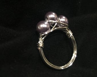 Lilac pearls ring