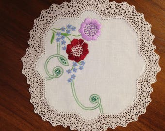 Vintage hand embroidered doily, 23 cm square; mauve and red flowers