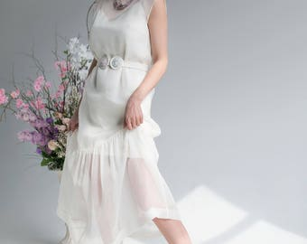 One Touch white silk organza dress