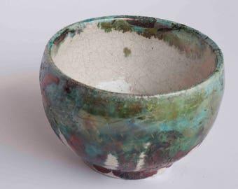 Cup of you green raku, copper, gloss, metallic, reflections, Crackle,