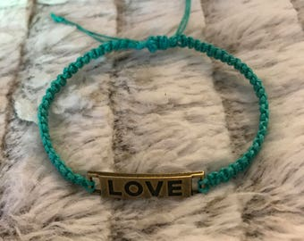 Love bar blue hemp bracelet