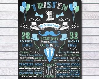 1st Birthday Chalkboard Sign, First Birthday Chalkboard Sign, Boy's First Birthday Chalkboard Sign, Blue, Mustache, Boy Sign, tie