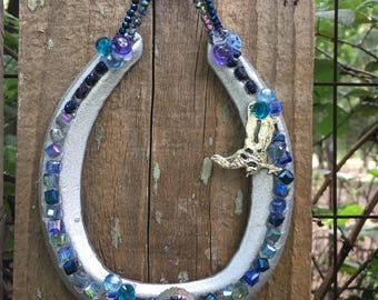 Lucky Sparkle Horseshoe blue and silver, Charms, Wedding and Home Decor