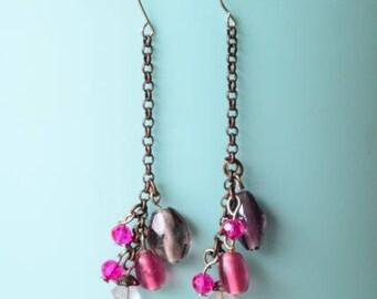 Hanging Purple & Pink - Earings