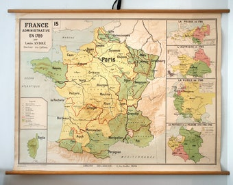 Rare Vintage France in 1789 School Map from Librairie Delagrave. Made in France