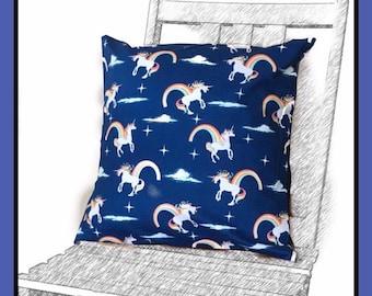 Rainbow unicorn cushion cover