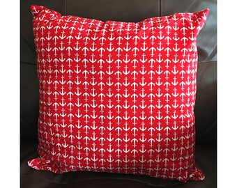 Red Anchor Throw Pillow