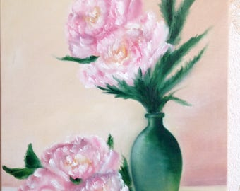 Original oil painting, painting, still life, canvas