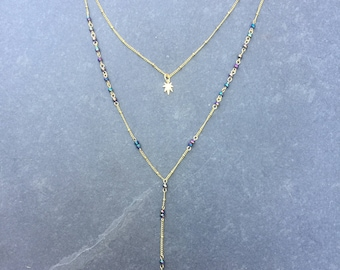 Gold and Purps Weed Leaf Layered Lariat