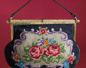 Original 40's Vintage Embroidered Evening Bag
