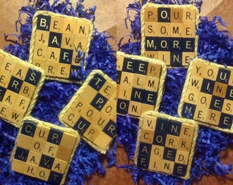 Scrabble Tile Coasters | Handmade | Themed | Drink | Entertaining | Bar | Housewarming | Hostess | Gift | Birthday | Mothers/Fathers Day
