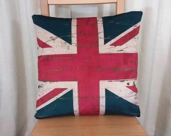 British flag cushion, UK flag pillow, union jack cushion, British pillow, vintage flag