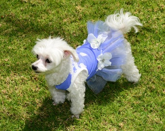 Blue and White Flower Print Tutu Dress with 3 Flowers