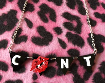 CUNT acrylic bunting necklace - Offensive - Naughty - Adult