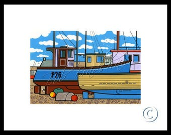 Boats at West Bay, Mounted Giclee Print