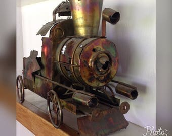 Metal Train Sculpture, Vintage Copper Metal Train, Steam Engine