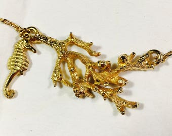 rare Vintage signed Lenore Solmo, seahorse and reef, gold tone necklace