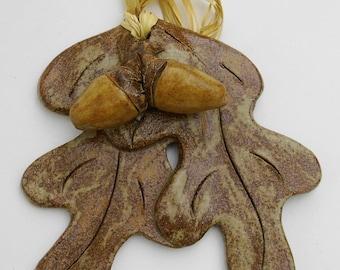 Ceramic oak leaf decoration