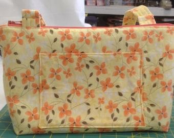 handmade fabric purse, yellow print, zippered closure, adjustable strap