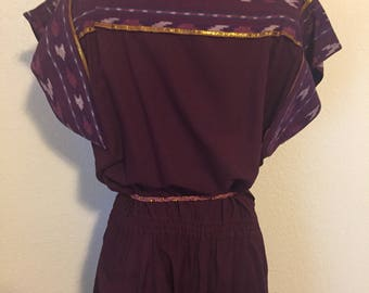 Vintage Ethnic Print Eggplant (darker purple) dress with Gold Accents